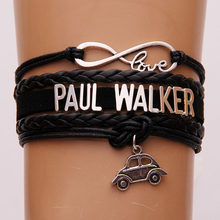 Amor infinito Pulseira de Paul Walker Carro charme corda de couro wrap pulseiras & bangles jóias The Fast and the Furious motivo(China)
