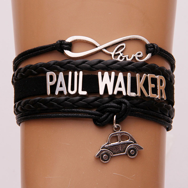 Infinity Love Paul Walker Bracelet Car Charm Leather Wrap Rope Bracelets Bangles The Fast And