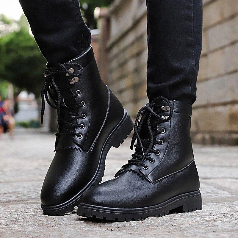 Casuales Libre Botines Negro Zapatos Invierno Otoño Moda Black Ae498 Aire brown Pantorrilla Hombre Botas Hombres De Media Al RwfvIwOq