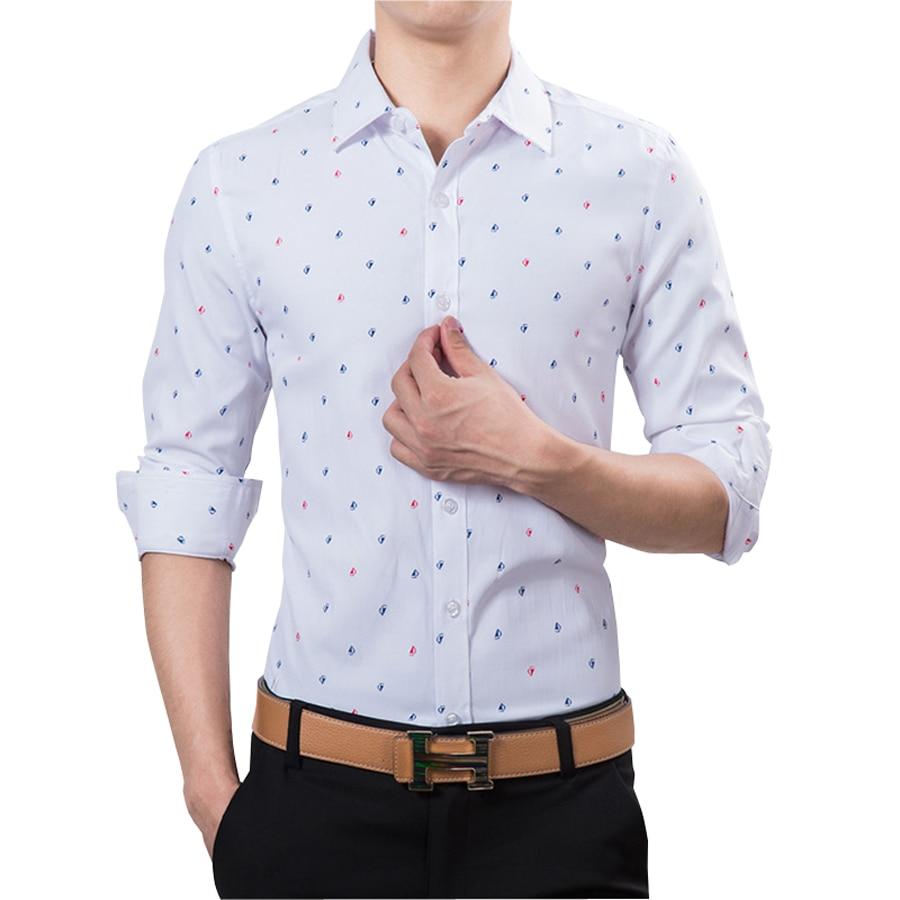 Shirt Slim Fit Casual Shirts Men Fashion Polka Dot Print Luxury Dress ...