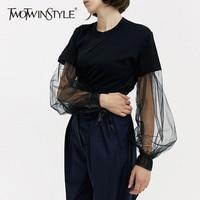 TWOTWINSTYLE Patchwork T Shirt Female Mesh Lantern Sleeve Lace Up Black T Shirts Oversize Women Summer