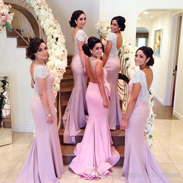 Baratos Hermosa rosa bateau sirena de boda vestidos de dama de honor ...