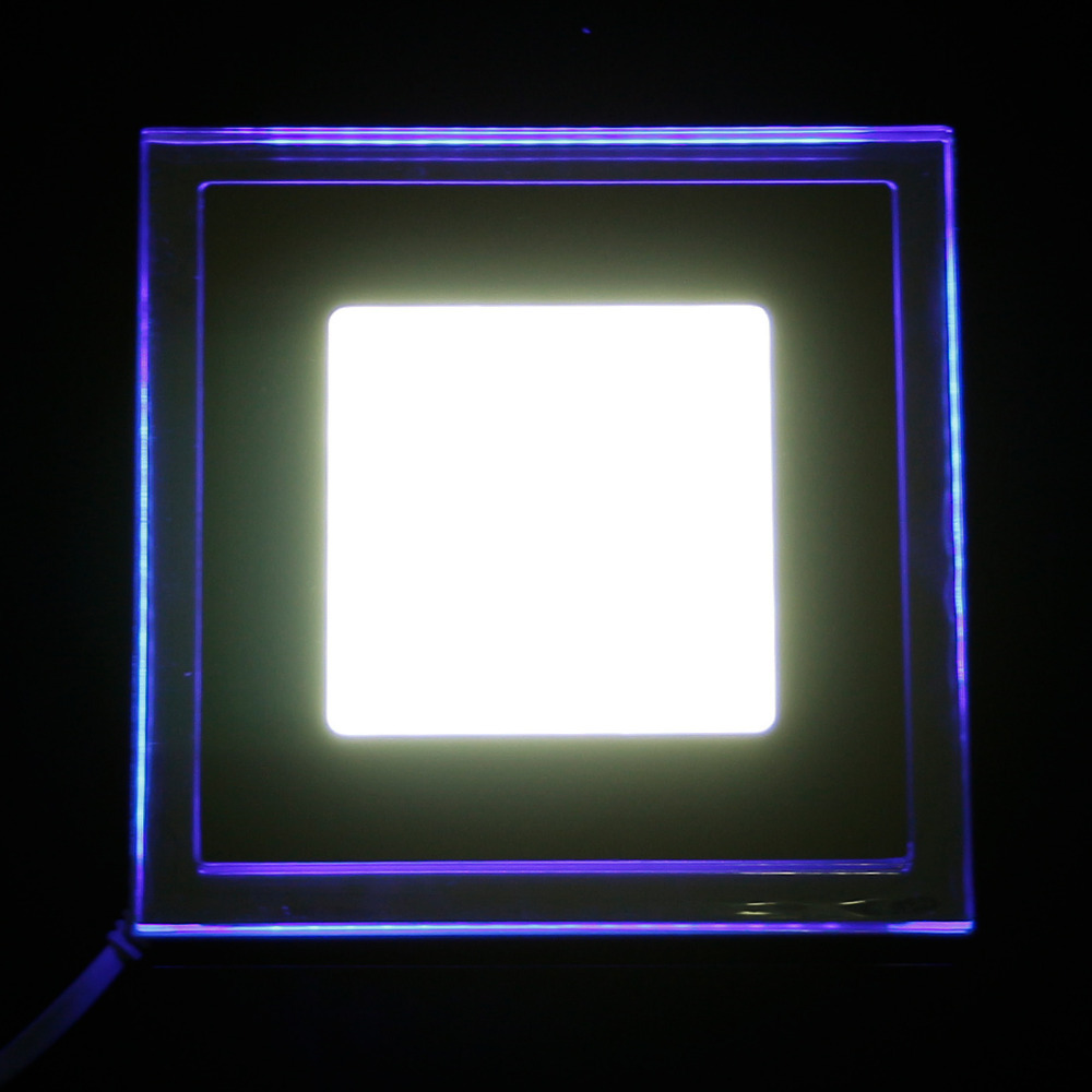 10W Glasses Square LED Recessed Wall Ceiling Panel Lights downlight AC85-265V Warm whiteindoor lighting For Home Lamp