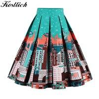 Kostlish Retro Print Flower Summer Skirts Womens 2017 High Waist Vintage Skirt Elegant A Line Midi