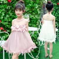 Pink Tulle Princess Dress Summer Kid Girls Dress Baby Girl Princess Dress Sleeveless Petals Decoration Chlidren's Clothes Party