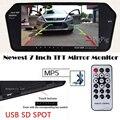 2017 Mais Recente de Alta Resolução HD 1024*600 7 ''TFT LCD Monitor de Visão Traseira Do Carro Espelho Do Bluetooth/MP5 Usb/SD Slot Para Auxiliar de Estacionamento Revese
