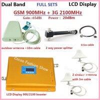 W CDMA ретранслятор GSM, 3G 900 мГц 2100 Dual Band Мобильный телефон усилитель сигнала повторителя комплект с 2 дома