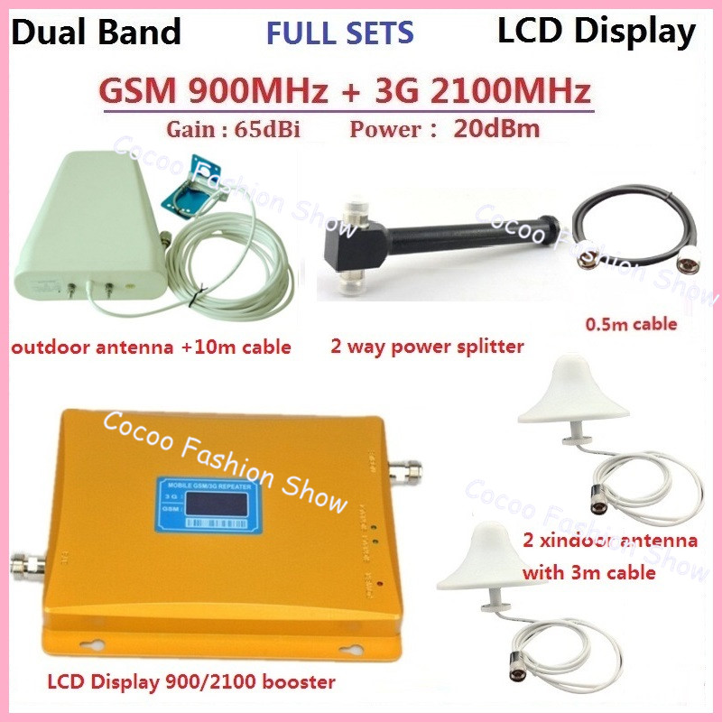 W-CDMA GSM 3G Repeater 900 MHz 2100 MHz Dual Band Mobile Handy Signal Booster Repeater verstärker kit mit 2 häuser