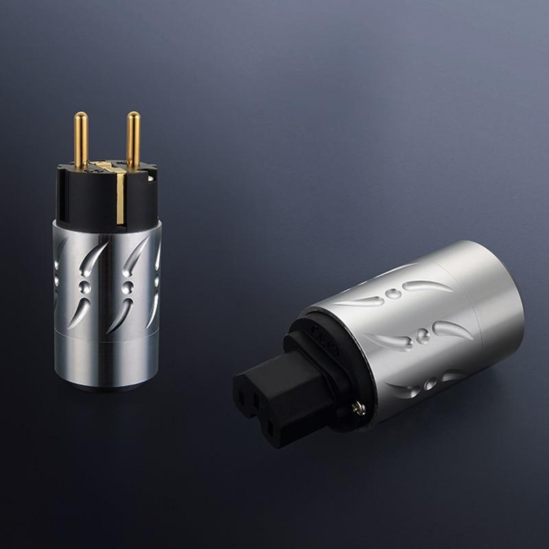 Viborg X Hifi Audio 1pair Pure Copper 24K Gold Plated Aluminium Alloy 20MM EU Schuko Version Power Plugs For DIY Power Cable