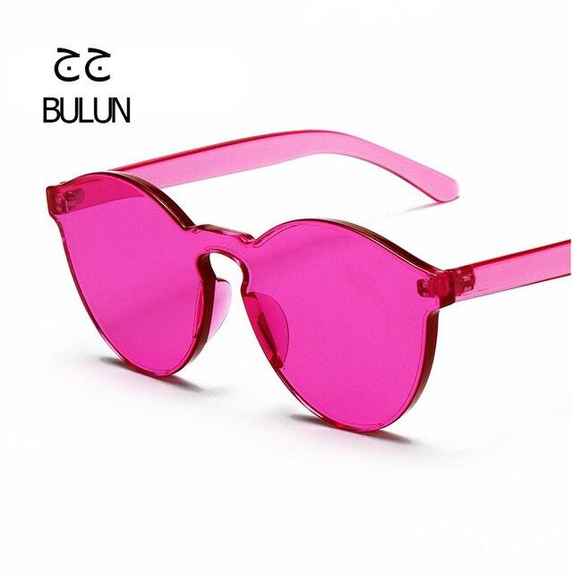 BULUN 2017 High Quality Integrated Rimless Sunglasses Women Brand Designer Clear Frame Flat Lens Glasses Oculos De Sol Feminino
