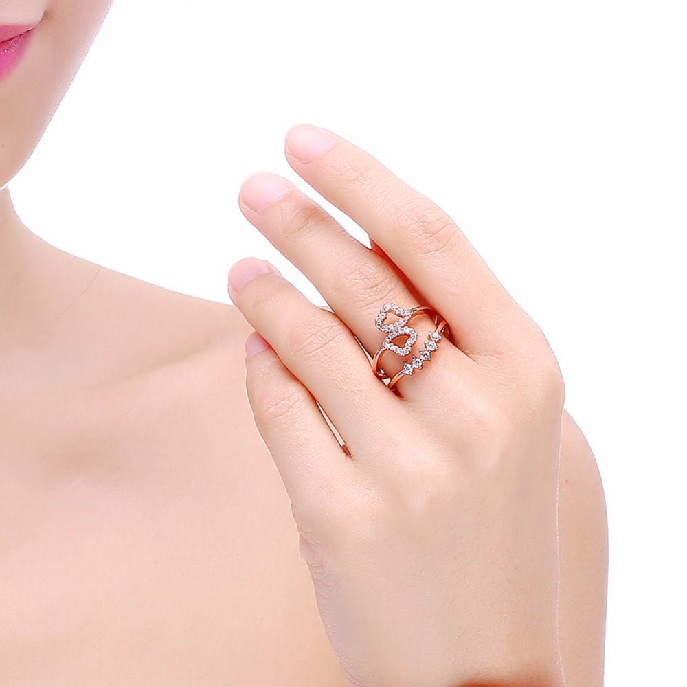 Aliexpress.com : Buy DODO Female Cute Heart Ring Fashion 585 Rose ...