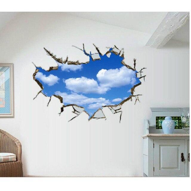 oft Sky Wolken 3D Decke Aufkleber PVC Material Wand Aufkleber DIY FQ96