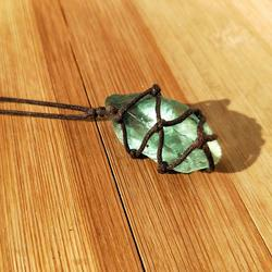 Natural Quartz Crystal Stone Blue-green Fluorite Treatment Stone Fluorite Ornament Fluorite Pendant With Hand-woven Braided Rope