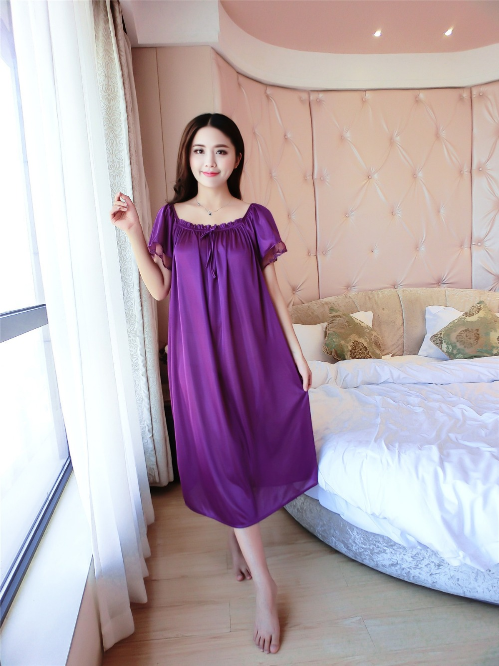 Plus Size 4XL New Sexy Silk Nightgowns Women Casual Chemise Nightie Nightwear Lingerie Nightdress Sleepwear Dress Free Shipping