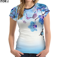 FORUDESIGNS Chinese Style T Shirt Women Tees Shirt Ladies Clothing Plum Blossom Printed T Shirts Feminism