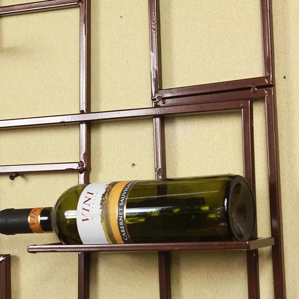 10 Bottle Wall Mounted Metal Wine Holders Iron Wall Wine Rack Bottle ...