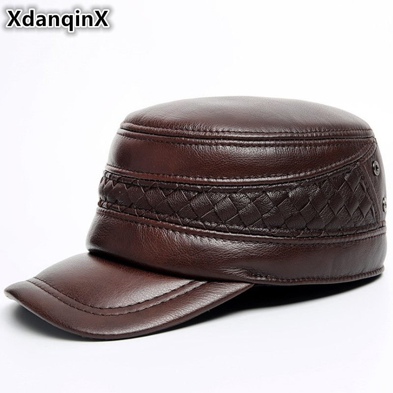 XdanqinX Genuine Leather Hat Autumn Winter Men's Cowhide Military Hats With Ears Adjustable Size Flat Cap Male Bone Snapback Cap