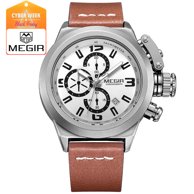 Megir Mens Watch Fashion Chronograph Luminous Quartz Wristwatch Casual Leather Waterproof Analog Watch with Calendar for