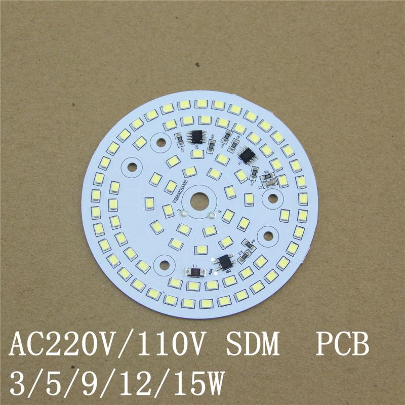 Işıklar ve Aydınlatma'ten LED Modülleri'de Ücretsiz kargo 10 adet/grup AC220V LED Modülü 15 W IC Entegre sürücüsüz LED PCB