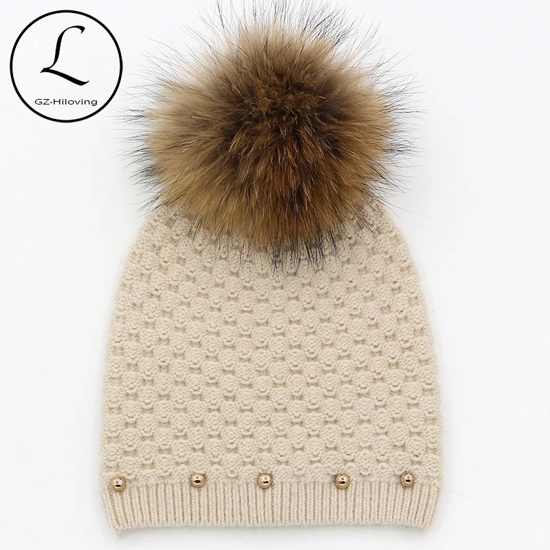 GZHILOVINGL 2017 new knitted hat Women big Real Raccoon Fur pom pom Caps Crochet Hats For Women Winter Casual Cap Women Beanies