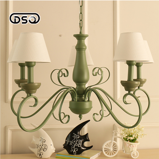 Nordic-style American-style rural pastoral Mediterranean living room bedroom green simple fashion fresh iron chandelier style