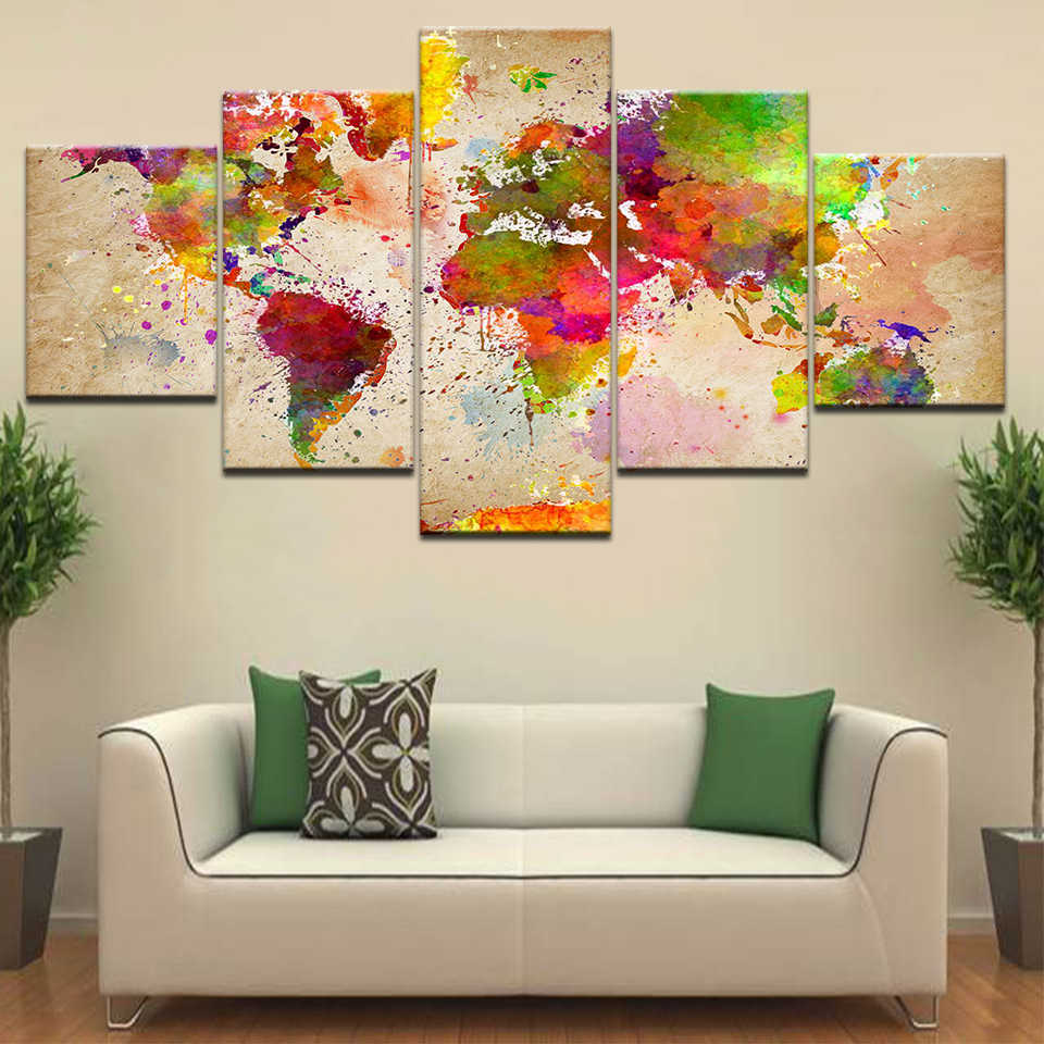 Home Decor Framed HD Printed Living Room Abstract Pictures 5 Piece Color World Map Painting Wall Art Canvas Modular Poster