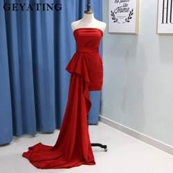 Простые красные Короткие Выпускные платья 2019 Vestido de graduacion без бретелек прямое вечернее платье со шлейфом Vestido rosa curto