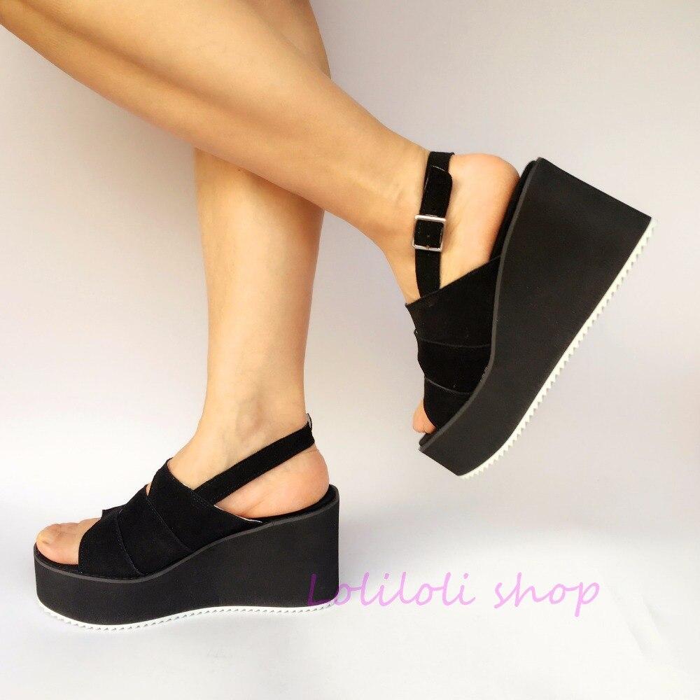 Vaca Cuñas De Princesa Gamuza Yoyo Dulce Correa Zapatos Sandalias Loliloli Japonés An7546 Lolita Hebilla Tamaño Multiple Gran Diseño Negro q7xCaq