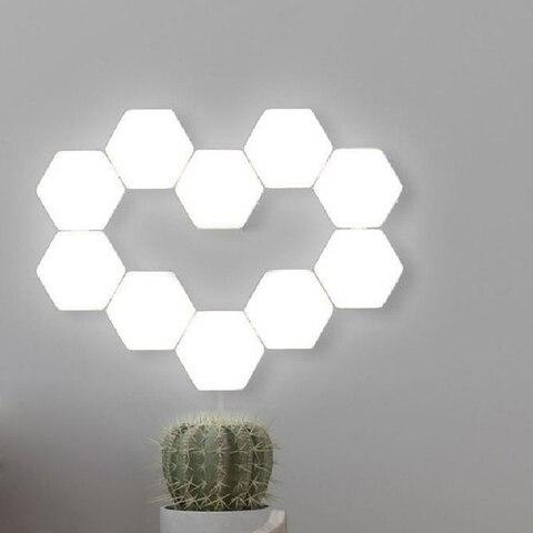 parede painel novidade diy hexagonal luz presente