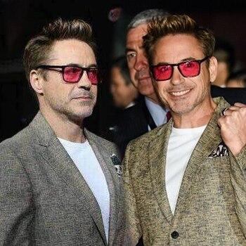 d0a3fa49cc Robert Downey gafas de sol rojo lentes Retro de moda de gafas de sol para  hombres, diseñador de marca, marco de acetato de gafas