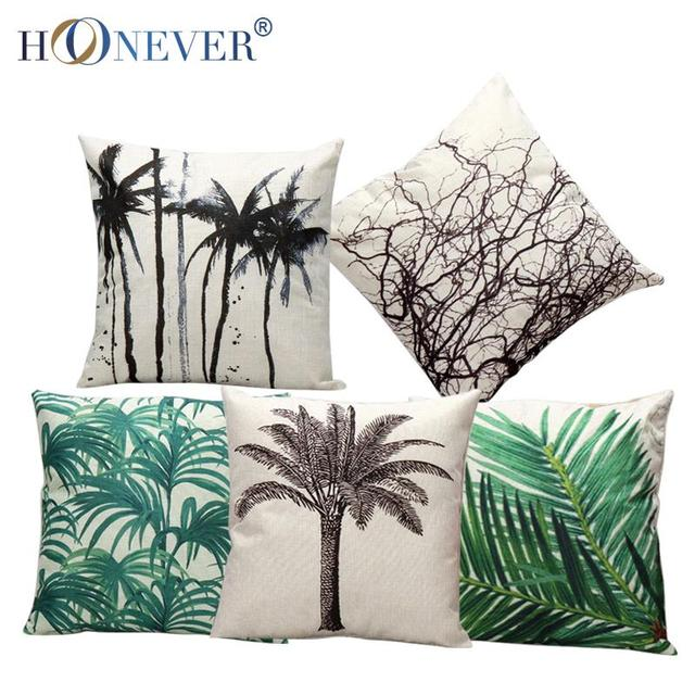 Tropic Tree Cushion Cover Cotton Linen Throw Pillow Cover Cushion Case Sofa Bed Decorative Pillows