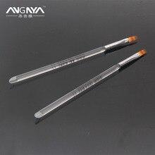 Retail 1PC ANGNYA Acrylic UV Gel Nail Art Ombre Brush Transparent Handle Flat Nylon Hair Brush Nail Art Tools Freeshipping