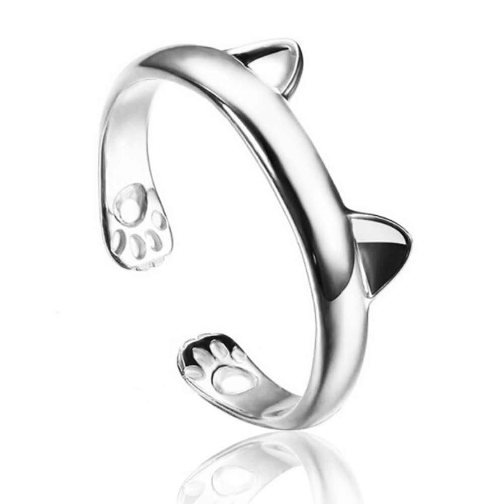 Terbuka Disesuaikan Cincin untuk Wanita Hadiah Pesta Fashion Bohemian Cincin Pesona Naga Telinga Kucing Paw Jejak