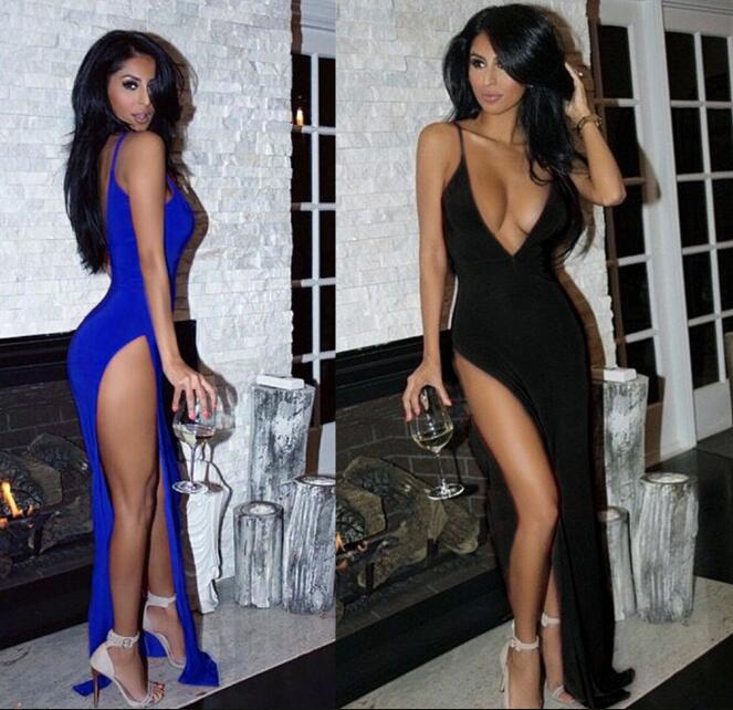Europe Nightclub Sexy Deep V Neck High Side Slit Long Dress Women Spaghetti Strap Backless Party Dresses