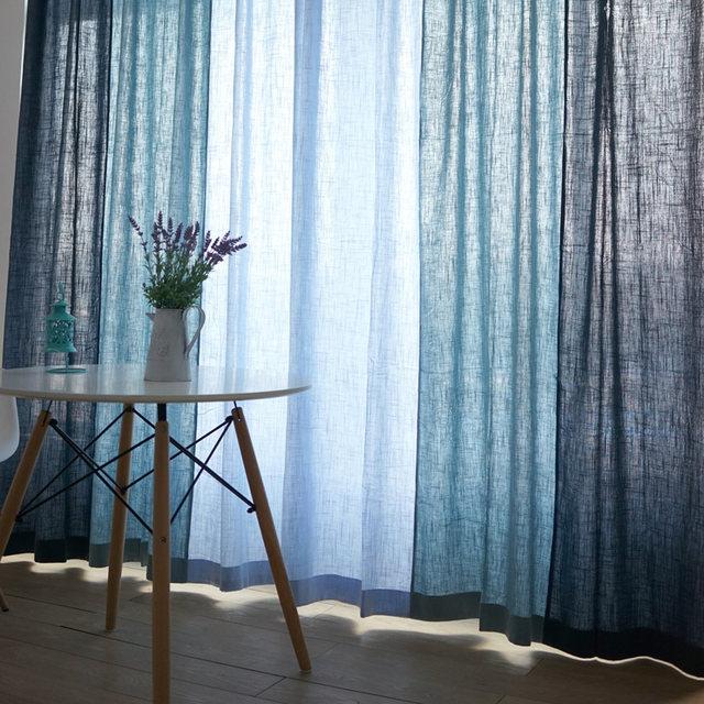 Blau Baumwolle Textur Amerikanischen Land Stil Dekorative Tuch Vorhang  Leinen Stoff Vorhänge Für Wohnzimmer Cortinas Sheer Tüll