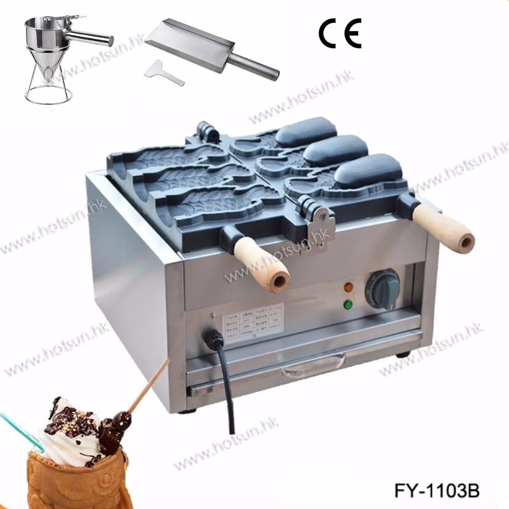 Commercial Electric Japanese Open Mouth Fish Waffle Ice Cream Taiyaki Iron Maker Machine +Batter Dispenser+Stuffing Scoop taiyaki fish maffle maker waffle ice cream machine
