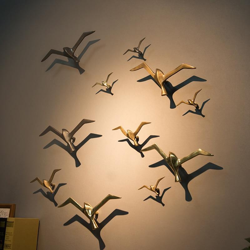 European 3D Copper Birds Art wall decoration Bar Furnishing Craft TV Background Living Room Wall Hanging Seagull Sculpture