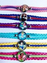 24pcs/lot HOT STYLES!Princess Snow White, Rapunzel,Tiana,Ariel,Cinderella Merida glass cartoon children's bracelets wholesale