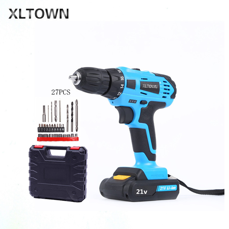 XLTOWN 21V hand Electric drill Rechargeable lithium battery electric screwdriver cordless Electric drill Power Tools Drill bits xltown 21v electric screwdriver multifunction rechargeable lithium drill electric household cordless electric drill power tools