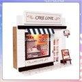 13504 Hot DIY Cake shop loja de comida casa de bonecas em miniatura casa de boneca de madeira brinquedos frete grátis