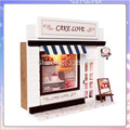 13504 Hot DIY Cake shop miniature dollhouse food wooden doll house store toys free shipping