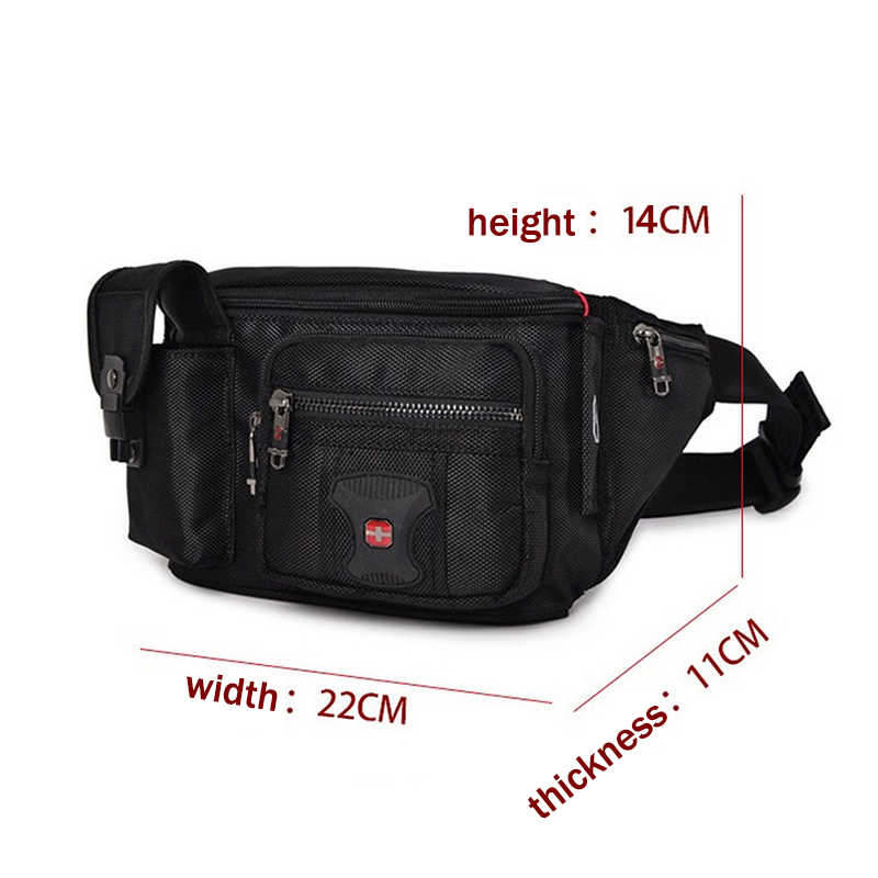 bc814f27b831 Multifunctional Unisex Waist Pack Casual Fanny Pack Men Belt Bag Phone  Pouch Bags Women Black More Pockets Small Waist Bag Male