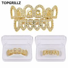 TOPGRILLZ Pura Cor Banhado A OURO Hip Hop Micro Pave CZ Grades GRILLZ Dentes de Vampiro Fang Oco Top & Bottom Set(China)