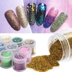 1 Bottle Holographic Powder Sequin Nail Art Decorations Glitter Dust Paillettes Ongles 24 Colors Mermaid Powder