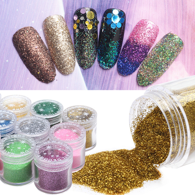 1 Bottle Holographic Powder Sequin Nail Art Decorations Glitter Dust