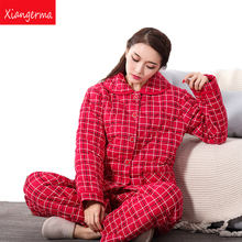 Xiangerma Cotton Women Pajama Sets Autumn Winter Female Pajamas Lovely Girls Sleepwear Long-Sleeve Sleep Lounge