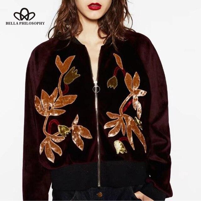 2bae1f72ad2 Bella Philosophy 2018 Autumn Winter Velvet Jacket Coat Women Embroidery Bomber  Jacket Female Casual Long Sleeve Zipper Outwear