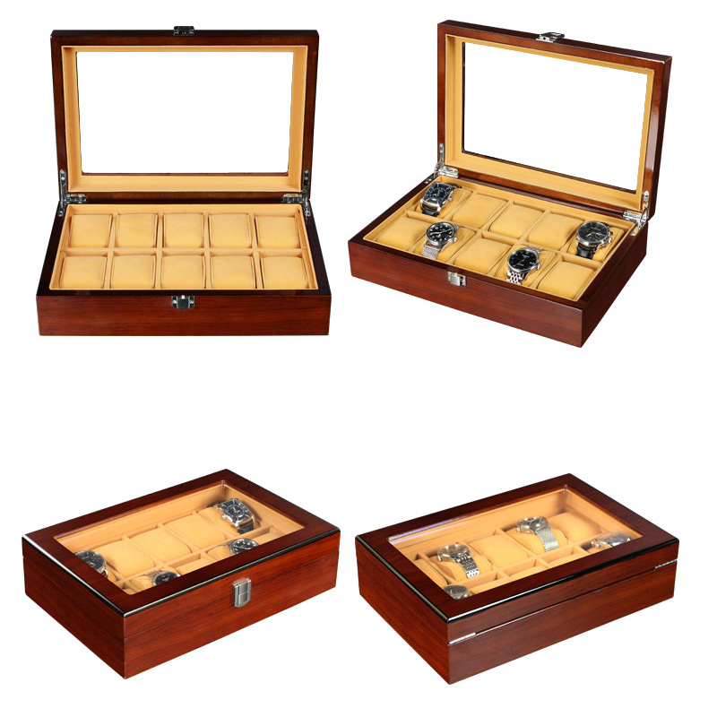 2020 Luxury 10 Grids Handmade Wood Watch Box Wood Clock Box Watch Case Time Box for Watch Holding2020 Luxury 10 Grids Handmade Wood Watch Box Wood Clock Box Watch Case Time Box for Watch Holding