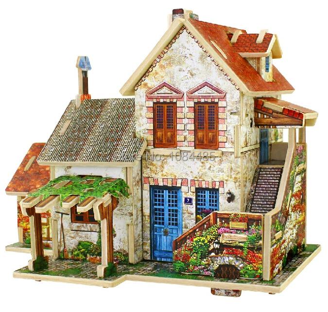 sch ne franz sisch villa modell baus tze diy holz 3d. Black Bedroom Furniture Sets. Home Design Ideas