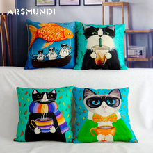 Cute Cartoon Animal Pattern Cat Fish Cushion Cover Kitten Girl Pillow Case Pet Pillowcase for Home Decorative Pillowcase classical fish pattern square decorative pillowcase without pillow inner